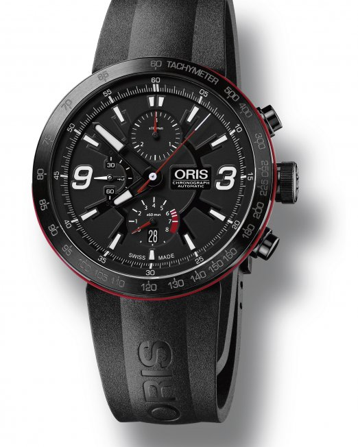 Created as a homage to the F1 Team Williams, the Oris TT1 Chronograph has a 45mm steel case and a black gasket. The bracelet is fixed directly to the case which results in a close and comfortable fit to the wrist. A stunning and functional timepiece worthy of champions.