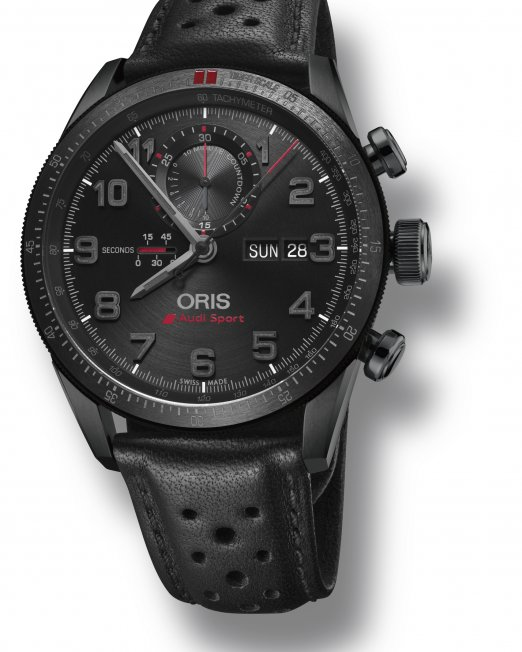 In the second year of the landmark partnership between Oris and Audi Sport, Oris is delighted to present the Audi Sport Limited Edition II. The watch is dedicated to the ground-breaking Audi R18 e-tron quattro, featuring its silhouette on the case back.